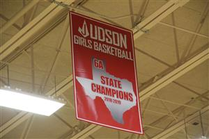Championship banner at Meet The Rockets