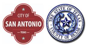 logos of San Antonio and Bexar County