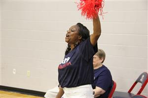Ms. Eaton Cheering the Patriots on