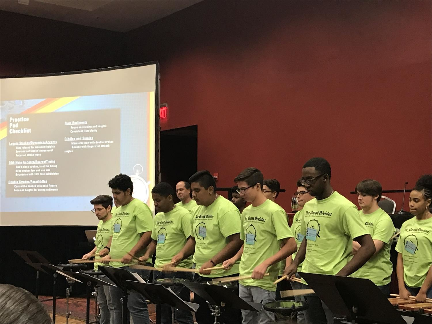 Wagner drumline at Texas Bandmasters Association Clinic