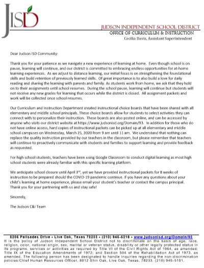C&I Letter on Distance Learning