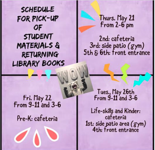 Library Book Drop-Off and Student Material Pickup Schedule